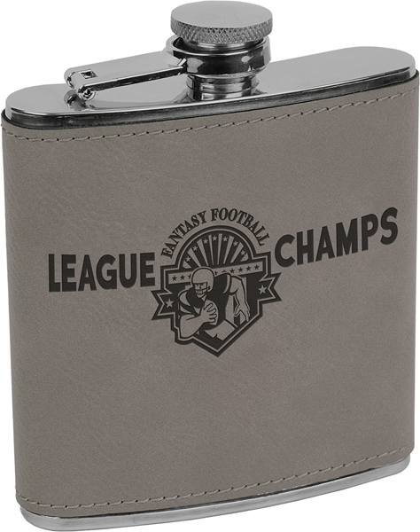 L4 Gray Leatherette Flask
